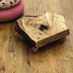 Drewniany nietypowy blat na kółkach